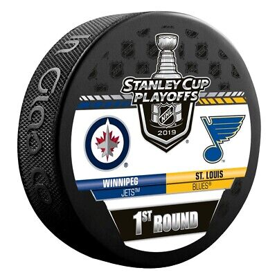 2019 Stanley Cup Playoffs Hockey Puck 1St Round Jets Vs. St Louis Blues Champs