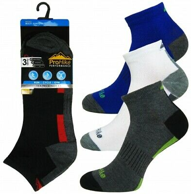 Mens Prohike Cotton Rich Trainer Ankle Socks Stripe Assorted 3/6/12 Pack PH2048