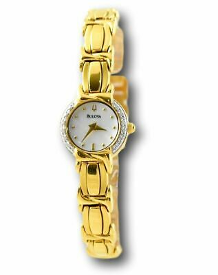 Bulova Women's 98R88 Diamond Accent Gold-Tone Stainless Steel Quartz Watch 20mm