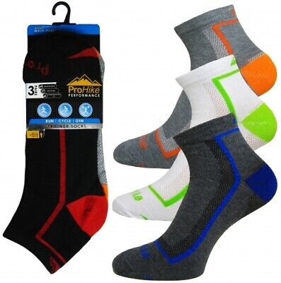 Mens Prohike Cotton Rich Trainer Ankle Socks Stripe Assorted 3/6/12 Pack PH2055