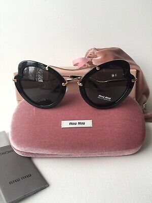 e9edc6b81ee47 New MIU MIU Sunglasses SMU11R 1AB 1A1 52MM Gloss Black   Gold Authentic