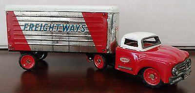 1950s VINTAGE LINEMAR TOYS--JAPAN--FRICTION TRUCK & TRAILER--STEEL--GREAT PATINA
