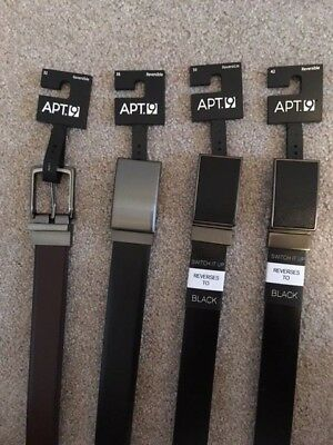 New APT·9 Men's Feather-Edge Black /& Brown Reversible Synthetic Leather Belt $28