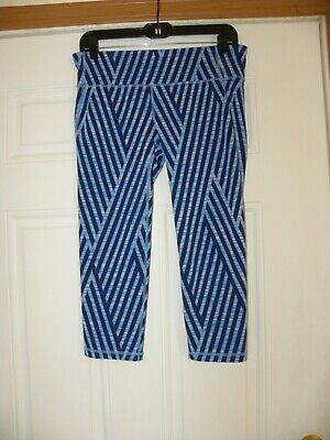 cf3e40fc2c2545 NEW GAP FIT GFast Women's Blue Stripe Capri Leggings Size Med ...