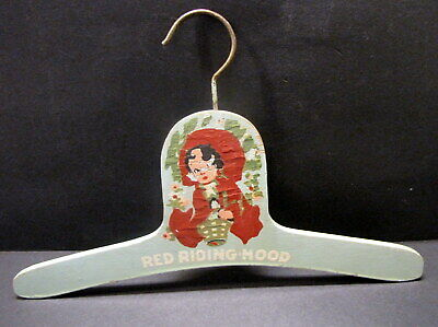 1930 Vintage Hand Painted Wooden Childs Nursery Rhyme Hanger - Red Riding Hood