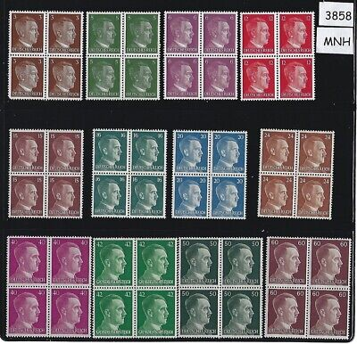 #3858  ***SPECIAL***  12 MNH Adolph Hitler Third Reich stamp blocks Nazi Germany