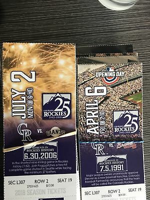 1-4 Chicago Cubs @ Colorado Rockies 6/12/19 Tickets 2019 Sec 307 Row 2! Coors