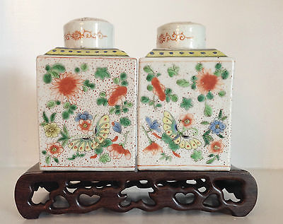 PAIR Fine Marked Antique Chinese Export Porcelain Famille Verte Tea Caddy ~Stand