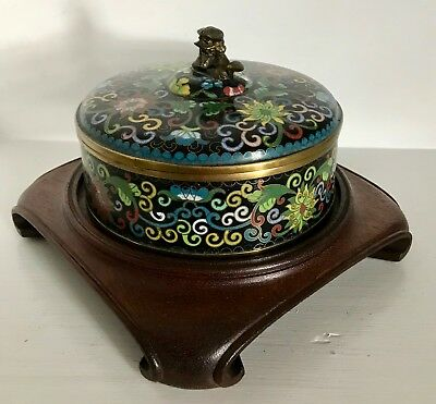 Large Old Ming-Style Lotus Famille Noir Cloisonne Box ~Marked CHINA ~Fine Stand