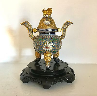 "Fine Republic 7"" Chinese Champleve Cloisonne Incense Burner Censer ~Ornate Stand"