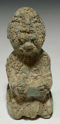 Pre Columbian Central America Mezcala STYLE Jade Figure w/ Offering Bowl
