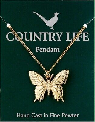 Swallowtail Butterfly Gold Plated Pewter Pendant On A Chain