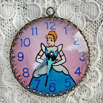CINDERELLA WATCH ~ XL DOMED ROUND GLASS 35mm PENDANT Filigree  VINTAGE IMAGE