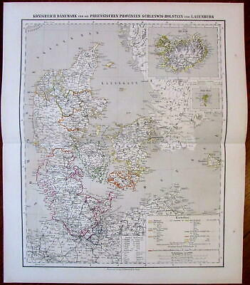 Denmark Prussian Provinces Iceland inset 1874 Flemming detailed old map