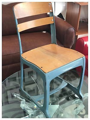 Antique Wood and Metal School Classroom Chair