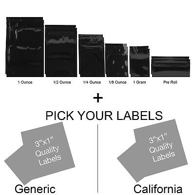 100 - Gloss Black/Black Mylar Smell Proof Storage Bags w/ Rx Labels Stickers