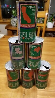 """6- 1970's """"United We Stand"""" 7up States 12oz Steel Cans"""