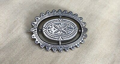 Victorian Silver Aesthetic Movement Crenelated Brooch - Floating Central Panel