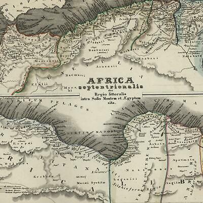 North Africa coastline Libya Tripoli Morocco c.1850 detailed Meyer German map