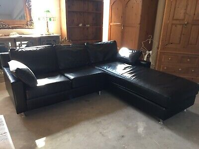 Designer Wesley Barrell 'Wstrana' Black Leather Corner Suite With Chaise
