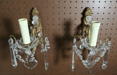 Vintage Original Pair of Classical Wall Sconces with Beading and Prisms