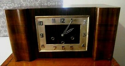 Rare Art Deco Walnut Westminster Chimes Striking Clock