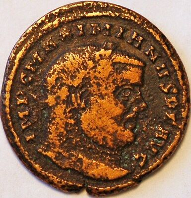 Maximian was Roman Emperor from 286 to 305 AD Copper Coin.