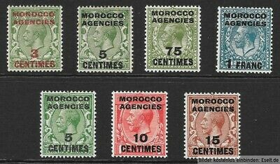 Morocco Agencies, French Currency, 1917/34  KGV 7 values. Hinged Mint Cat £13