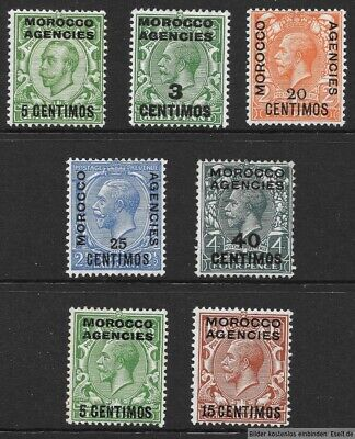 Morocco Agencies, Spanish Currency, 1912/31 KGV 7 values. Hinged Mint  Cat £27