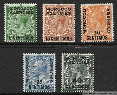 Morocco Agencies, Spanish Currency, 1925/31 KGV 5 values. Hinged Mint  Cat £25