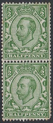 Pair of GB KGV 1/2d Green SG344 King George V 1912 Mint Hinged Downey Stamps