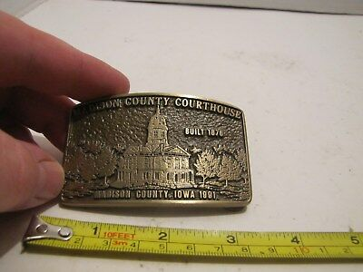 Vintage Advanced Casting Madison Count Courthouse Iowa Solid Bronze Belt Buckle