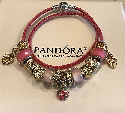 Authentic PANDORA Leather Bracelet Heart Pink Gold Charms