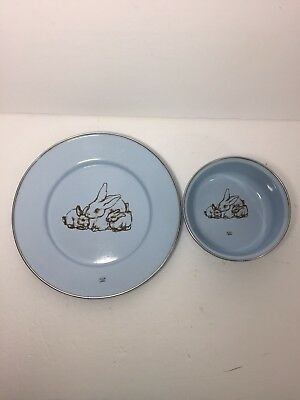 Vtg Bunny Bowl Dish Set Metal Porcelain Blue Childrens Place Setting Vintage