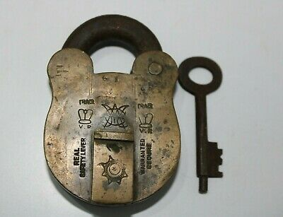 An Antique Old Brass Crown Marked Unique Solid & Heavy Padlock With Key