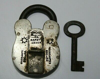 Antique Old Vintage Brass Swan Marked Safety Lever Padlock With Key Real Unusual