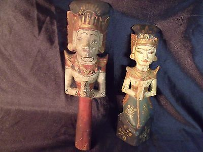 Antique Hand Carved / Hand Painted Wood Thailand Wedding Couple Figurines