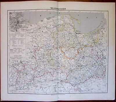 Danzig West Prussia Baltic Sea Poland 1874 Flemming detailed old map