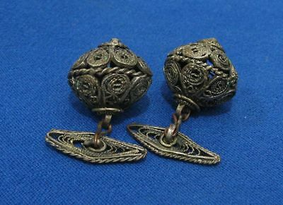 Antique Turkish Ottoman Balkan-Style  Hand-Made Filigree Silver-Plated Cufflinks