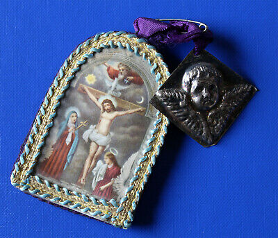 Old Monastery Devotional Picture with Votive Offering, Angel Silver?