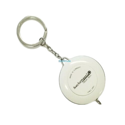 Retractable Key Chain Ring White Tape Measure 60 Inch & 150 Cm Made in Germany