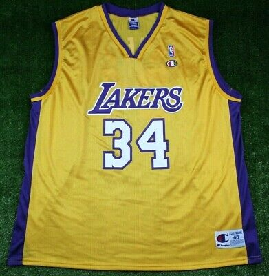 7c7cfa866e8 Champion Shaq Shaquille O'Neal Lakers #34 Adult Size 48 Gold Yellow Jersey  Mens