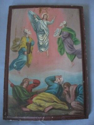 Antique Old Orthodox Icon Hand Painted Wood 19th Century