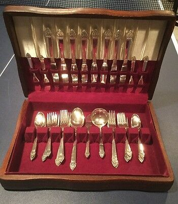 Antique Oneida King Cedric Sterling Silver Set Flatware 39pc Original Wood Box