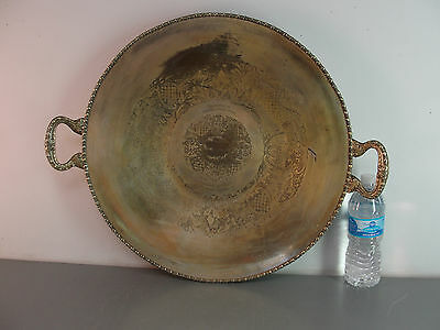Lehman Bros Silver On Copper Award Advertising 1956 Large Ornate Platter Vintage