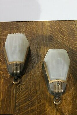 Pair Of Antique Art Deco Slip Glass Shade Wall Sconce Light Fixture Theater