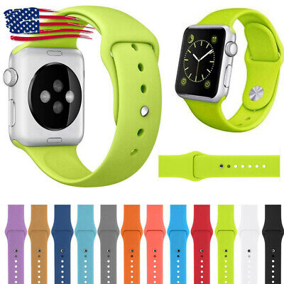 For Apple Watch Series 4/3/2/1 Sport Band Silicone Strap 42mm/38mm/44mm/40mm US