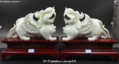 "11"" Natural Jade Wealth Pi Xiu Pixiu Phylactery Guardian Beast Brave Troops Pair"