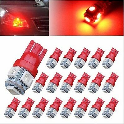 50pcs Red Lamp T10 5 SMD 5050 LED Car Side Wedge Tail Light Lamp 192 194 W5W