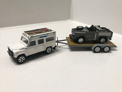 2006 Matchbox WHITE Land Rover Defender CUSTOM Paint And Trailer Hitch 1 of 1